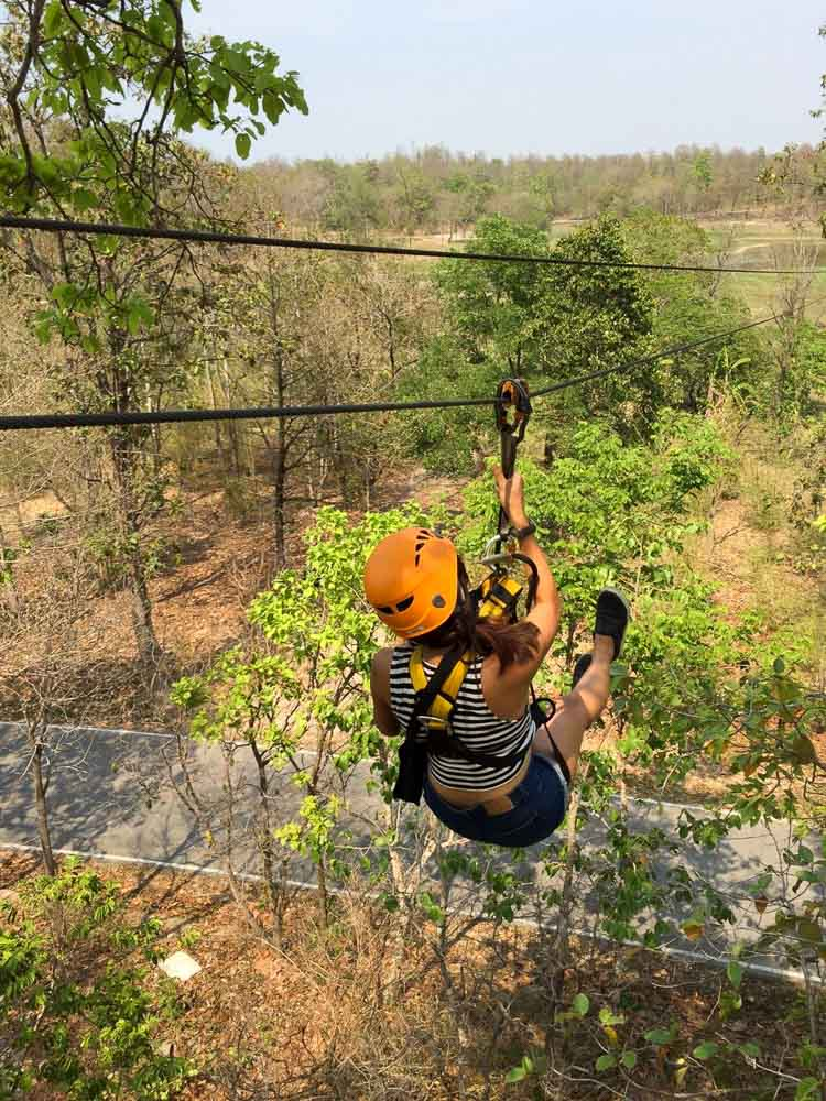 Ziplining between the trees in Chiang Mai