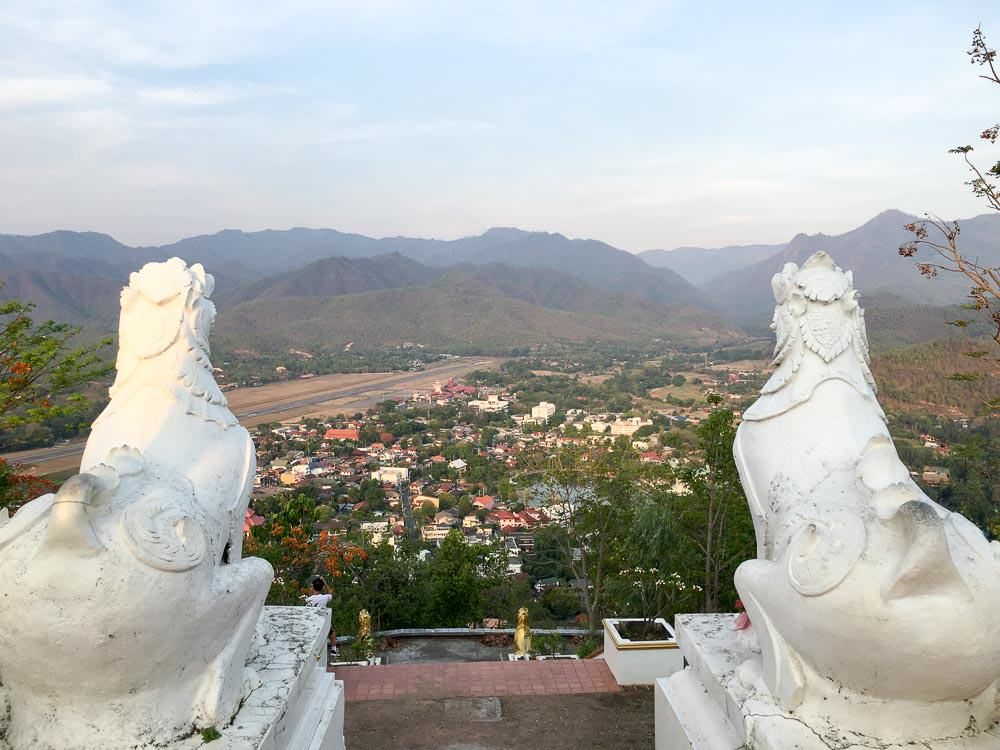 Ariel view of city from Wat Phrathat Doi Kong Mu in Mae Hong Son