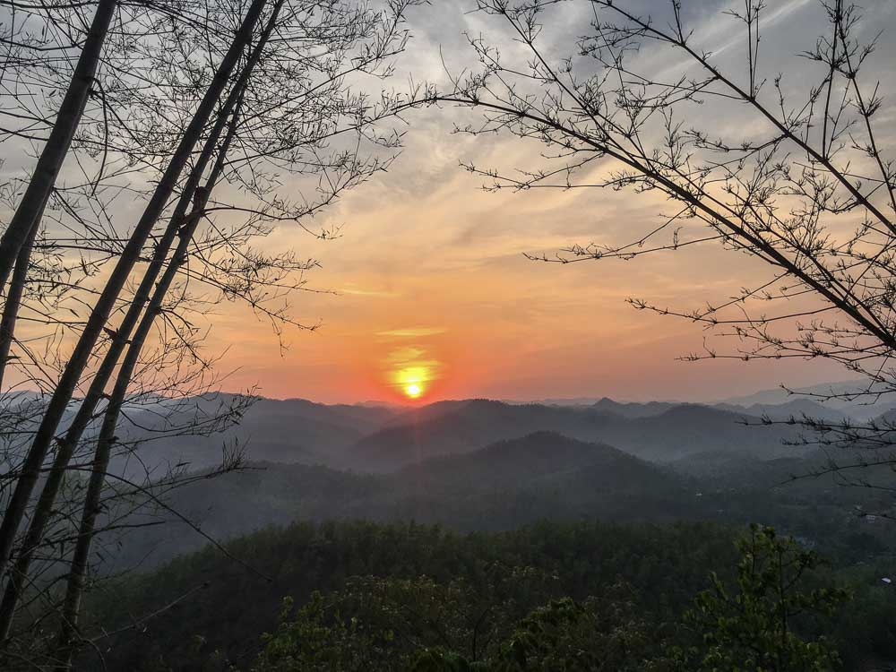 Sunset at Wat Prathet in Mae Hong Son