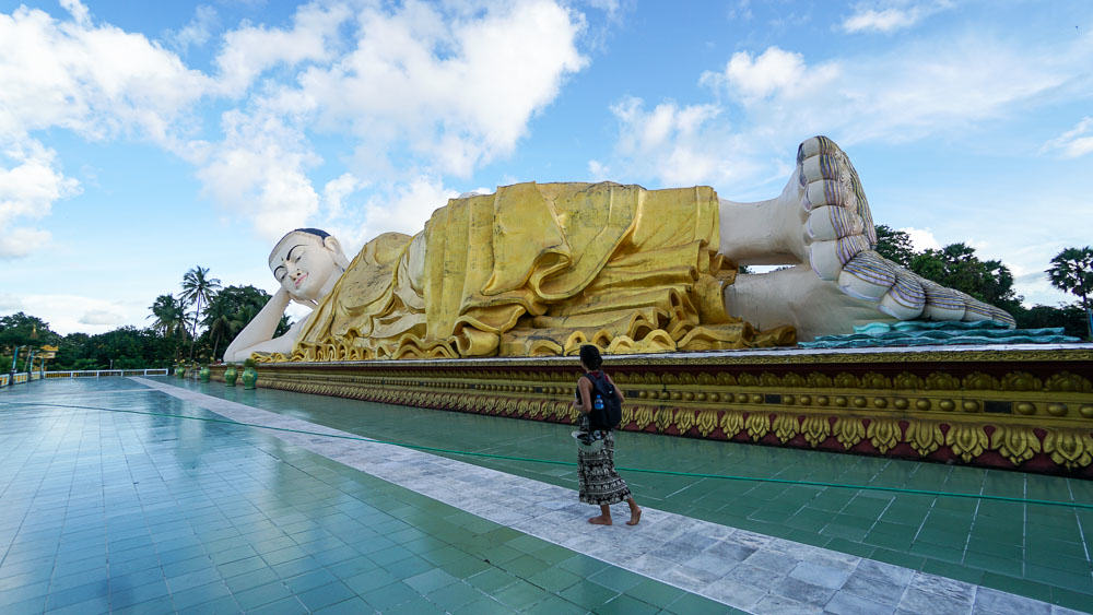Giant reclining Buddha statue at the Shwethalyaung - myanmar-itinerary
