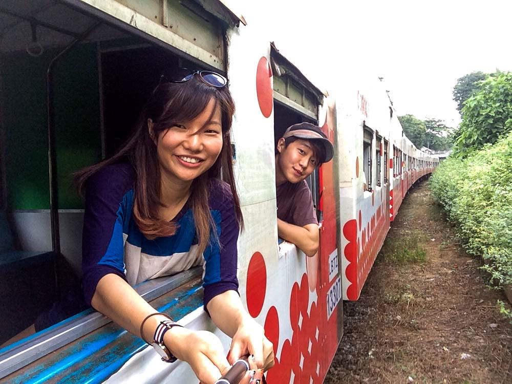 Taking the circle line train in Yangon - myanmar-itinerary