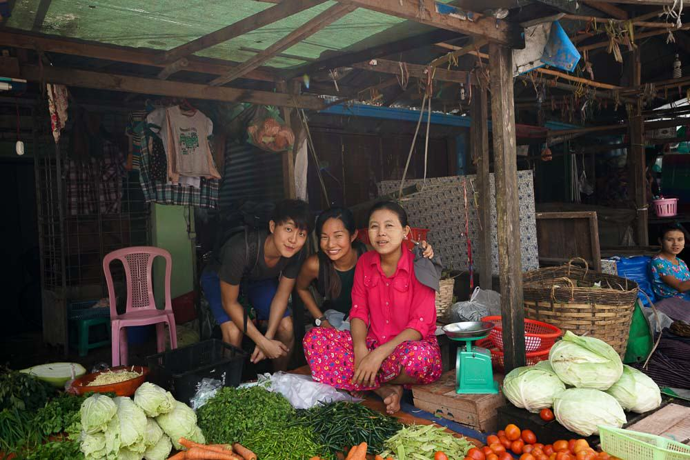Grocery Shopping at the local market in yangon - myanmar-itinerary