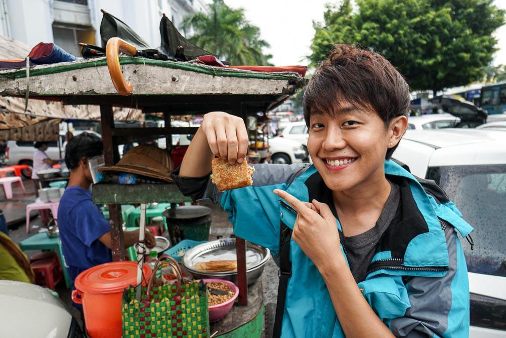 Gangster bread Yangon street food - myanmar-itinerary