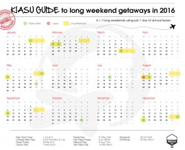 Kiasu Long Weekends Singapore 2016
